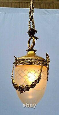 Elegant antique French hall light, Louis XVI style