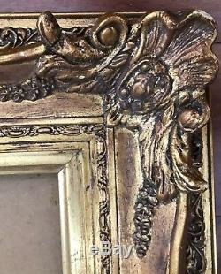 Fantastic French Louis Style Antique Gold Wood Gesso Art Frame Cove 48X31 HUGE