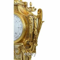 Fine Antique 19th century French Bronze Louis XVI style Barometer with Ram Heads