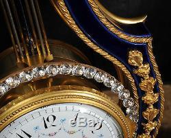 Fine Cobalt Blue Ormolu Louis XVI Lyre Clock Set Mystery Jewelled Pendulum Bezel