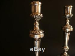 Fine French Louis XV 1760 Antique Classical Candlesticks Silvered Bronze 11