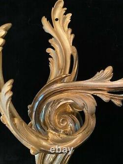 Fine Pair Antique French Louis XV Style Gilt Dore' Bronze Sconces
