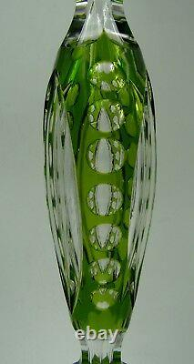 Fine Pair of Antique French St. Louis Cut Crystal Green Candlesticks 40 cm