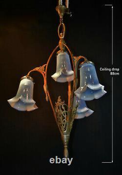 French 1920s Neoclassical Louis XVI art nouveau bronze chandelier Opaline shades