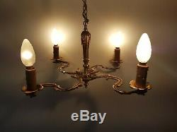 French Antique Brass 4 arms / lights Chandelier Louis XV