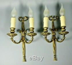 French Antique LOUIS XVI Bow Ribbon Bronze Brass Wall Sconce Light PAIR Lamps