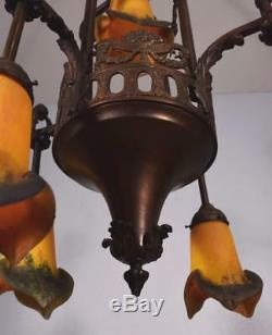 French Antique Louis XVI Style Bronze and Art Glass Chandelier/Lamp