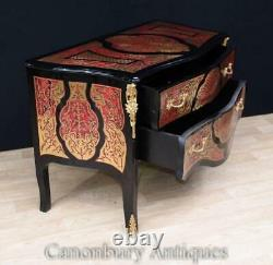 French Boulle Chest Drawers Bombe Commode Inlay Louis XVI Furniture