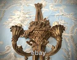 French Candle Sconces, A Gilded Pair. Rococo, Louis XVI Style