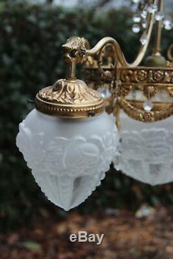 French Chandelier brass glass gothic dragon arms louis XVI decor 1960 n1