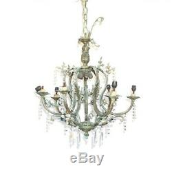 French Crystal Chandelier Bronze Victorian Louis XIV Antique 19th C. Large