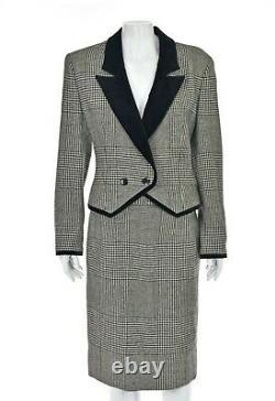 French Designer LOUIS FERAUD Black & White Houndstooth Suit w Velvet Trim SZ 8