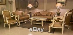 French Louis XV Antique Reproduction Sofa Set Furniture Armchair Gold Damask