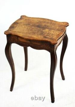 French Louis XV Style Oak Side Table with Single Drawer 19C 5764