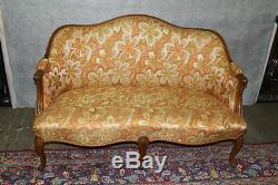 French Louis XV Walnut Loveseat Circa 1920's New Upholstery