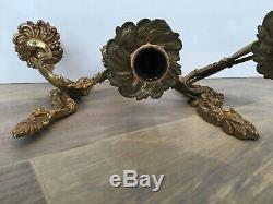 French Louis XV-XVI Bronze Pair Rococo Brass Wall Light Sconce Gold Gilt