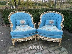 French Louis XVI Made to order Hand Carved Solid Wooden Chairs a Pair