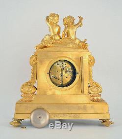 French Louis XVI Ormolu Clock Classical Gilt Gilded Figural Napoleon Putti Gold