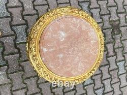 French Louis XVI Pedestal Side Tables in Gold With Pink Marble Top a Pair