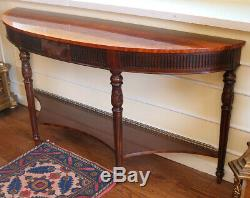 French Louis XVI Satinwood & Flame Mahogany Brass Gallery Console Sofa Table