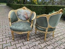 French Louis XVI Sofa/Settee/Couch Set with 2 Chairs WORLDWIDE SHIPPING