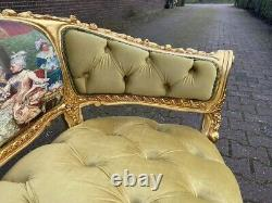 French Louis XVI Sofa in Pistache. Worldwide shipping