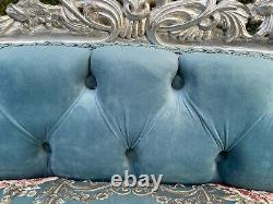 French Louis XVI Sofa in Silver and Floral Silver frame