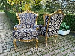 French Louis XVI Sofa with 2 easy chairs in dark blue worldwide shipping