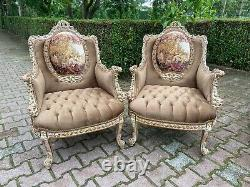 French Louis XVI Style Bergères Chairs a Pair