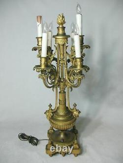 French Louis XVI Style Candelabra Lamp Gilt Bronze Ribbon Liberty Medal Cherubim