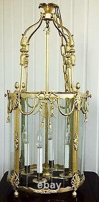 French Louis XVI Style Dore Bronze Lantern Chandelier Foyer Hall Ceiling Fixture