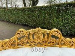 French Louis XVI Style Settee/Bench/Sofa White leather Free shipping