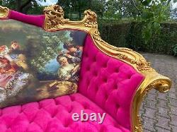 French Louis XVI Style Sofa Settee in Gobelin and Velvet