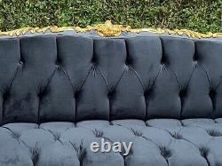 French Louis XVI Style Sofa in Black Velvet