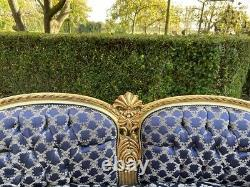 French Louis XVI Style Sofa in Blue Damask from around 1940's