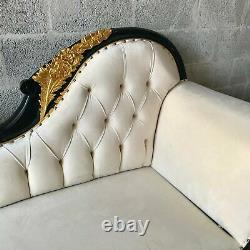 French Louis XVI Style White Black Gold Chaise Lounges worldwide shipping