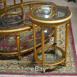 French Louis XVI style Coffee & 2 Side Tables set gilded Mahogany with Glass top