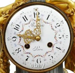 French Louis XVI style Gilded clock set, 19th Century. C. 1880 France