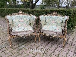 French Louis XVI style pair of 2 chairs