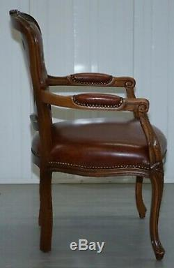 French Louis XVII Style Brown Leather Chesterfield Buttoned Armchair Fratelli