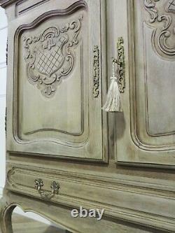 French Louis Xv Vintage Cupboard Cabinet In Raw Wood Limed Oak