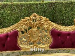 French Louis xvi new sofa in Burgundy tufted velvet. Worldwide shipping