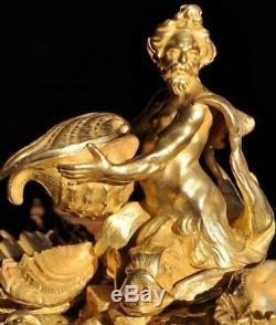 French Ormolu Gilt Bronze Inkwell Inkstand Triton Neptune Dolphin Rococo Louis