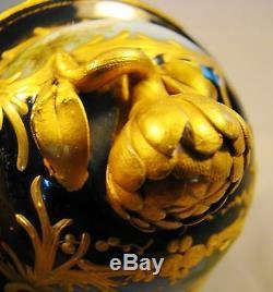 French Porcelain Cobalt & Gilt Handpainted Scenic Vase Blue Sevres Louis Mark