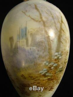 French Porcelain Ormolu Signed Hand Painted Vase 8 1/2 h Blue Sevres Louis Mark