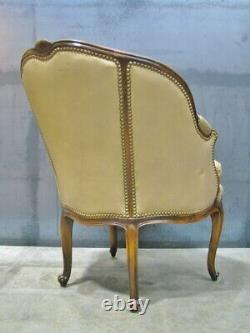 French Rococo Louis XV Leather Chair by Whittemore-Sherrill in Mahogany Frame