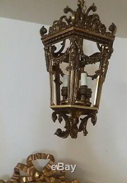 French bronze lantern barbola rose antique louis xvi