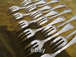 French silver-plate 12 pastry cake forks christofle Rubans Louis XVI