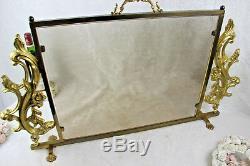 French vintage bronze glass fireplace screen louis XVI decor 1960