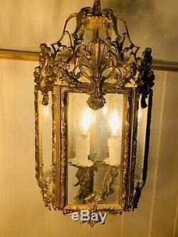 Gilt Bronze Hexagonal Louis XV Style Hall Lantern, 19th C, French Antique